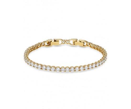 SWAROVSKI Tennis Deluxe Bracelet, White, Gold-tone plated