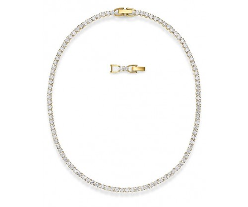 SWAROVSKI Tennis Deluxe Necklace, White, Goldtone plated