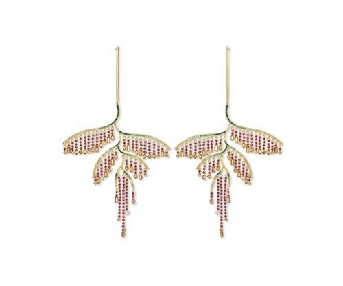 SWAROVSKI Tropical Leaf Pierced Earrings, Dark multi-colored, Mixed metal finish