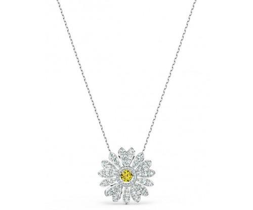 SWAROVSKI Eternal Flower Pendant, Yellow, Rhodium plated