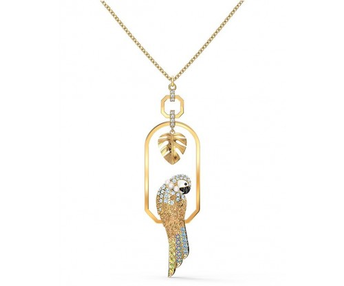 SWAROVSKI Tropical Parrot Necklace, Light multi-colored, Gold-tone plated