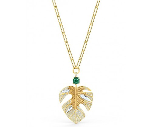 SWAROVSKI Tropical Leaf Pendant, Light multi-colored, Gold-tone plated