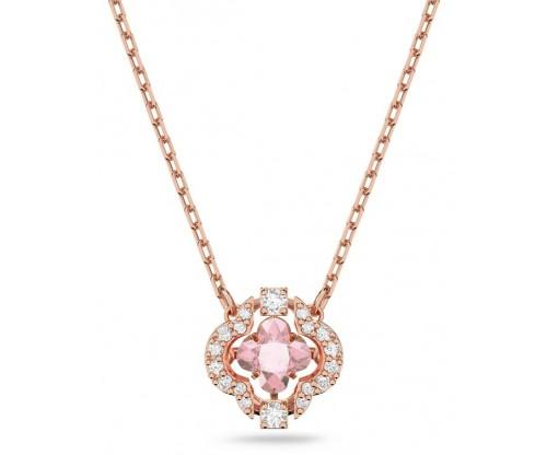 SWAROVSKI  Sparkling Dance Necklace, Pink, Rosegold tone plated