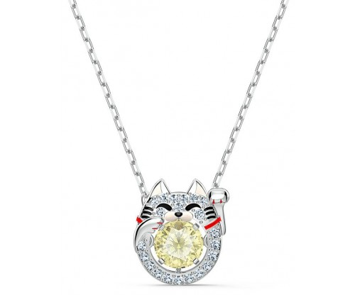 SWAROVSKI Sparkling Dance Cat Necklace, Light multicolored, Rhodium plated