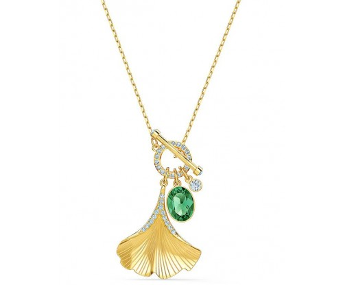 SWAROVSKI Stunning Ginko Necklace, Green, Goldtone plated