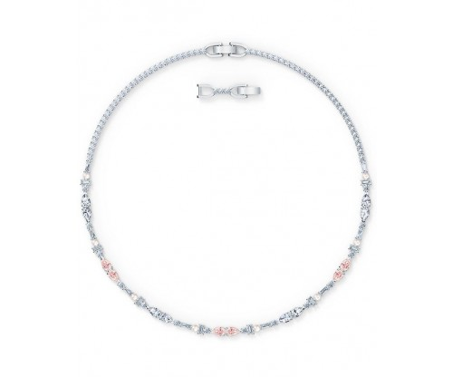 SWAROVSKI Perfection Chaton Necklace, Pink, Rhodium plated