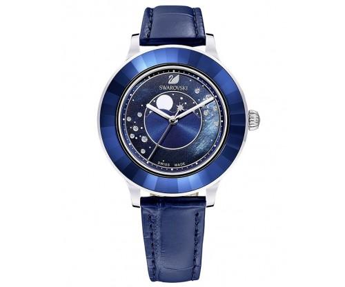 SWAROVSKI Octea Lux Moon Watch, Leather Strap, Dark blue, Stainless steel