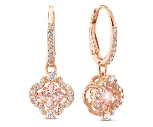 SWAROVSKI Sparkling Dance Clover Pierced Earrings, Pink, Rosegold tone plated