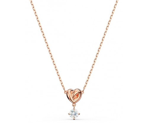 SWAROVSKI Lifelong Heart Pendant, White, Rosegold tone plated