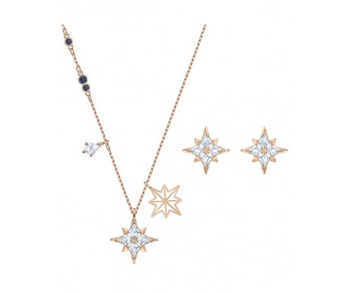 SWAROVSKI Symbol Star Set, White, Rose-gold tone plated