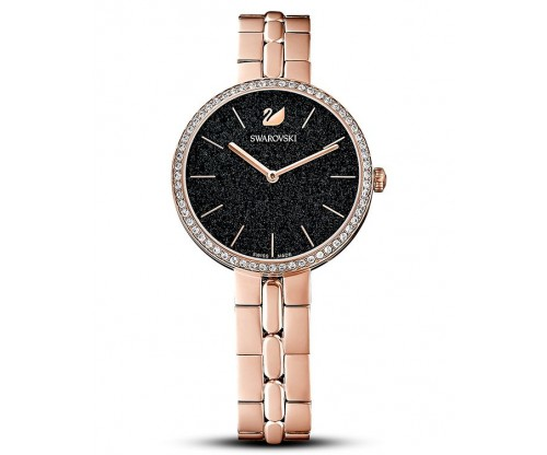 SWAROVSKI Cosmopolitan Watch, Metal bracelet, Black, Rose-gold tone PVD