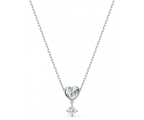 SWAROVSKI Lifelong Heart Pendant, White, Rhodium plated