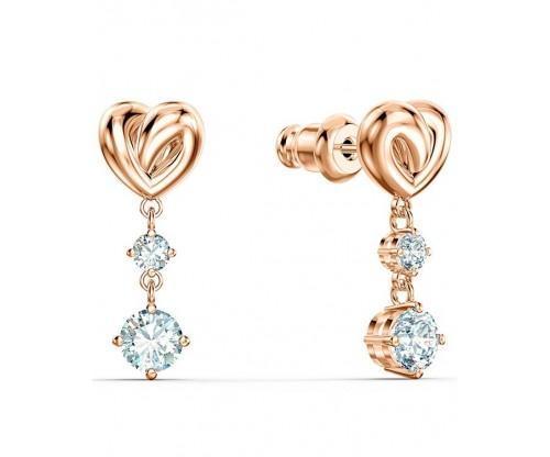 SWAROVSKI Lifelong Heart Pierced Earrings, White, Rosegold tone plated