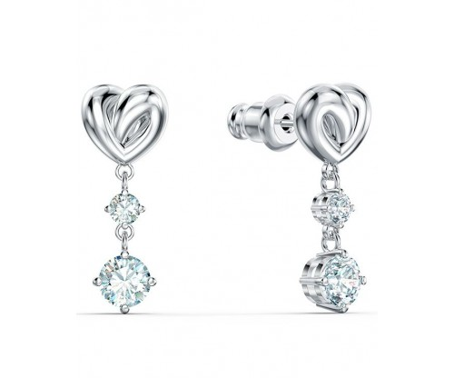SWAROVSKI Lifelong Heart Pierced Earrings, White, Rhodium plated