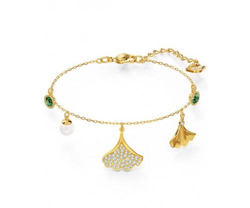 SWAROVSKI Stunning Ginko Bracelet, Green, Gold-tone plated