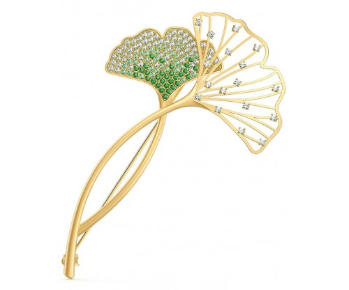 SWAROVSKI Stunning Ginko Brooch, Green, Gold-tone plated