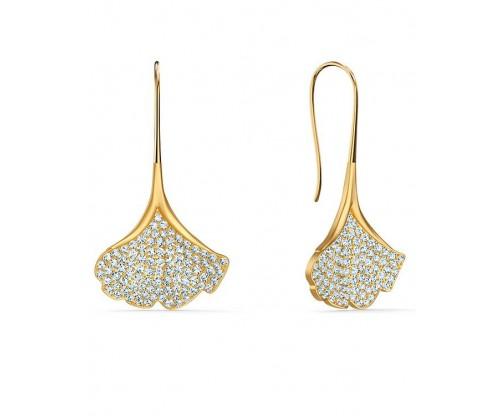 SWAROVSKI Stunning Ginko Pierced Earrings, White, Goldtone plated