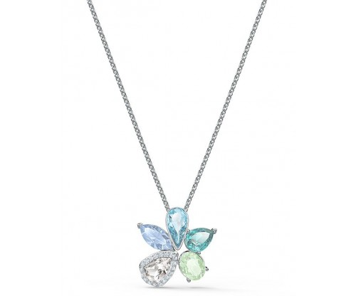 SWAROVSKI Sunny Necklace, Light multicolored, Rhodium plated
