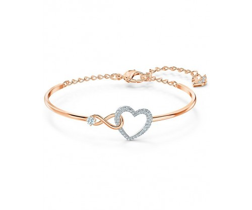 SWAROVSKI Infinity Heart Bangle, White, Mixed metal finish