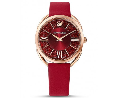SWAROVSKI Crystalline Glam Watch, Leather strap, Red, Rose-gold tone PVD