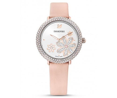 SWAROVSKI Crystal Frost Watch, Leather strap, Pink, Rose-gold tone PVD