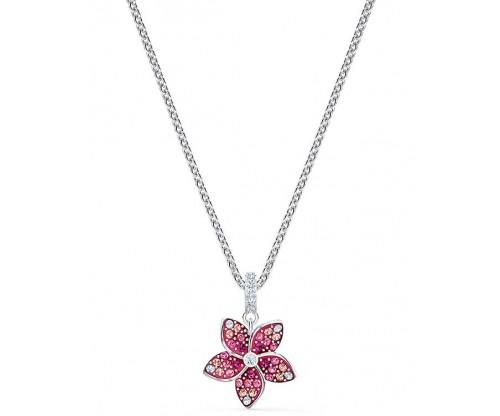 SWAROVSKI Tropical Flower Pendant, Pink, Rhodium plated