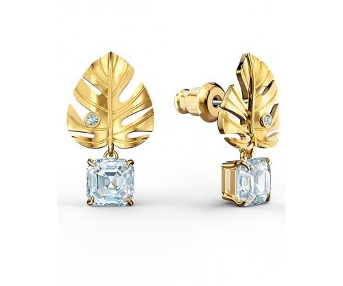 SWAROVSKI Tropical Leaf Pierced Earrings, White, Gold-tone plated