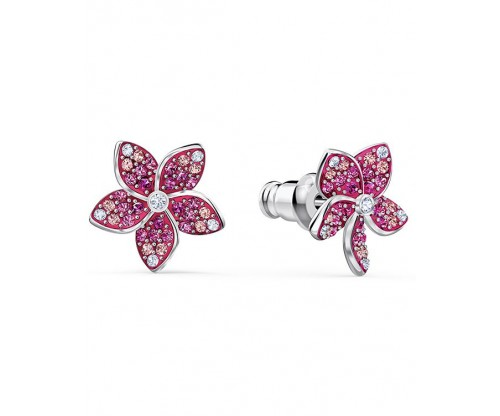 SWAROVSKI Tropical Flower Pierced Earrings, Pink, Rhodium plated