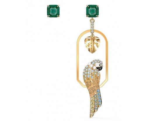 SWAROVSKI Tropical Parrot Pierced Earrings, Light multi-colored, Gold-tone plated