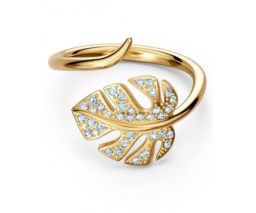 SWAROVSKI Tropical Leaf Open Ring, White, Gold-tone plated, Size 55