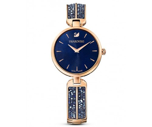 SWAROVSKI Dream Rock Watch, Metal Bracelet, Blue, Rose-gold tone PVD