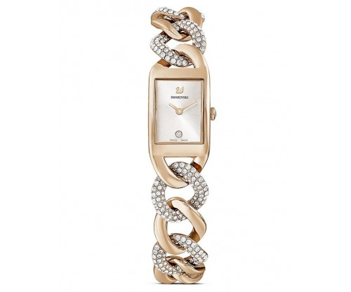 SWAROVSKI Cocktail Watch, Metal bracelet, Gold tone, Champagne-gold tone PVD