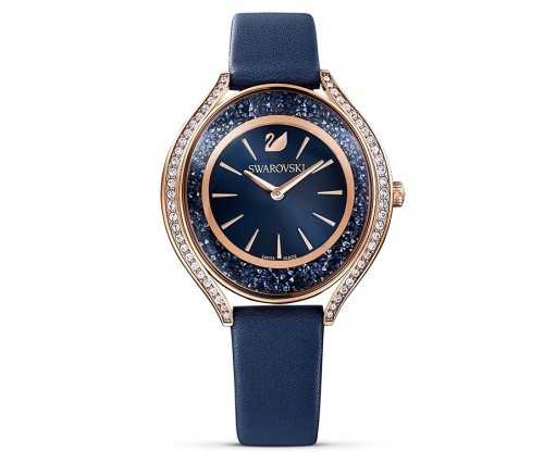 SWAROVSKI Crystalline Aura Watch, Leather strap, Blue, Rose-gold tone PVD