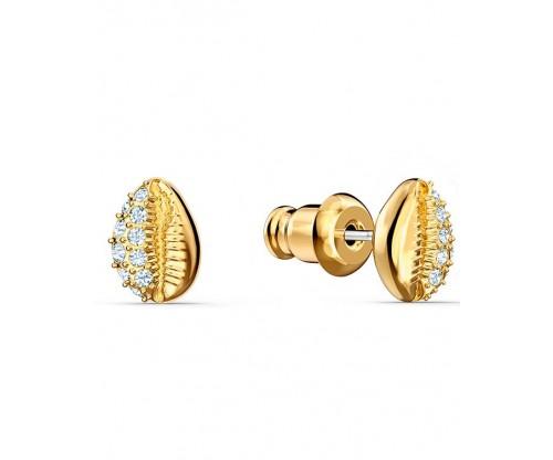 SWAROVSKI Shell Stud Pierced Earrings, White, Gold-tone plated