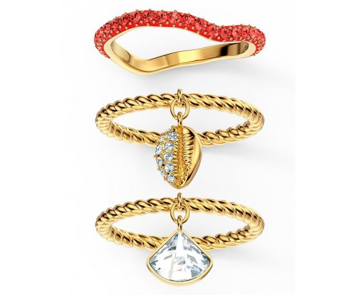 SWAROVSKI Shell Ring Set, Red, Gold-tone plated, Size 55