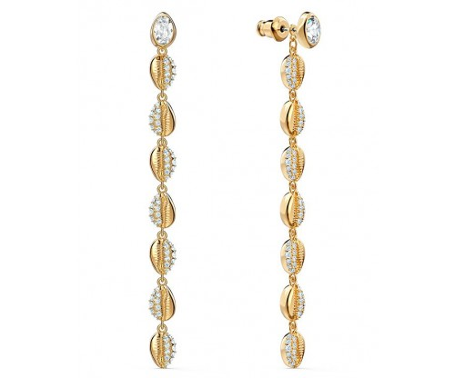 SWAROVSKI Shell Cowrie Pierced Earrings, White, Gold-tone plated