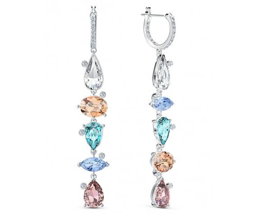 SWAROVSKI Sunny Hoop Pierced Earrings, Light multi-colored, Rhodium plated