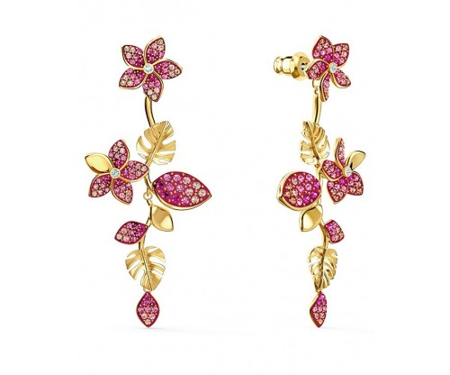 SWAROVSKI Tropical Flower Pierced Earrings, Pink, Gold-tone plated