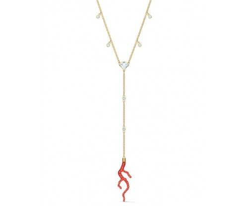 SWAROVSKI Shell Y Necklace, Red, Gold-tone plated