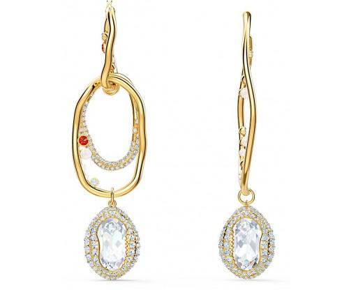 SWAROVSKI Shell Pierced Earrings, Large, Light multi-colored, Gold-tone plated