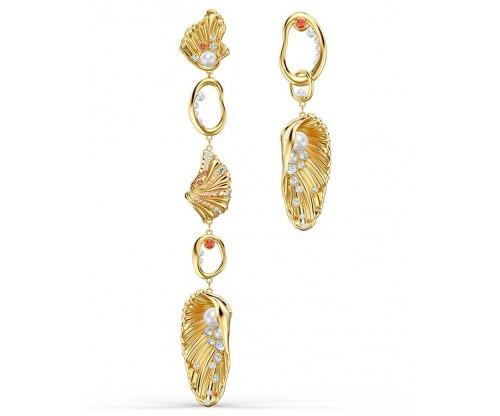 SWAROVSKI Shell Angel Pierced Earrings, Light multi-colored, Gold-tone plated