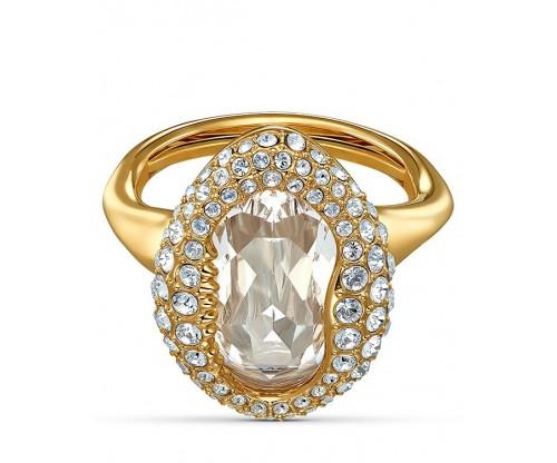 SWAROVSKI Shell Ring, White, Gold-tone plated, Size 50-55