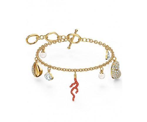 SWAROVSKI Shell Coral Bracelet, Red, Gold-tone plated