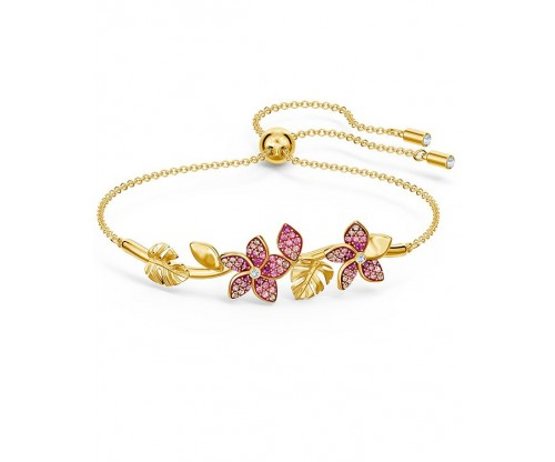 SWAROVSKI Tropical Flower Bangle, Pink, Gold-tone plated