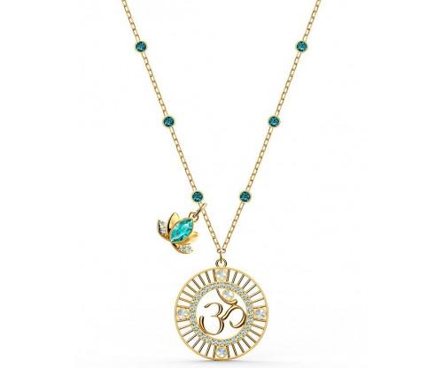 SWAROVSKI Symbolic Lotus Pendant, Green, Goldtone plated