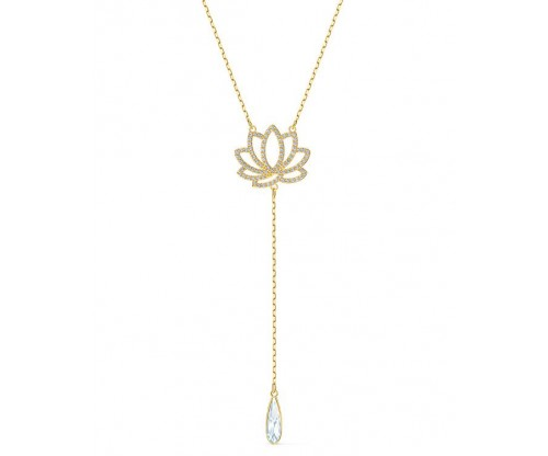 SWAROVSKI Symbolic Lotus Necklace, White, Goldtone plated