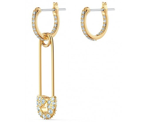 SWAROVSKI So Cool Pin Pierced Earrings, White, Gold-tone plated