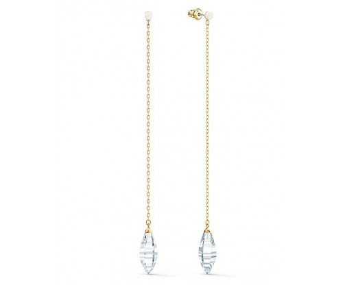 SWAROVSKI So Cool Pierced Earrings, White, Gold-tone plated