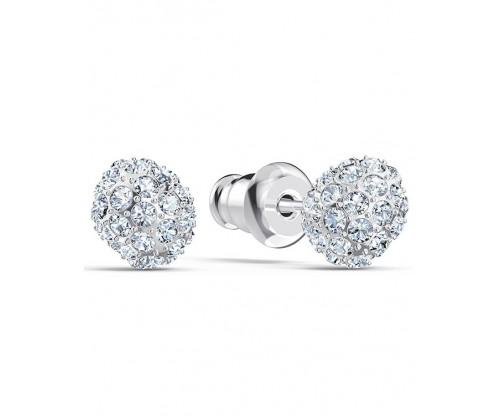 SWAROVSKI So Cool Stud Pierced Earrings, White, Rhodium plated