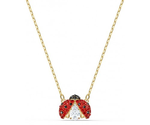 SWAROVSKI Sparkling Dance Ladybug Necklace, Red, Goldtone plated